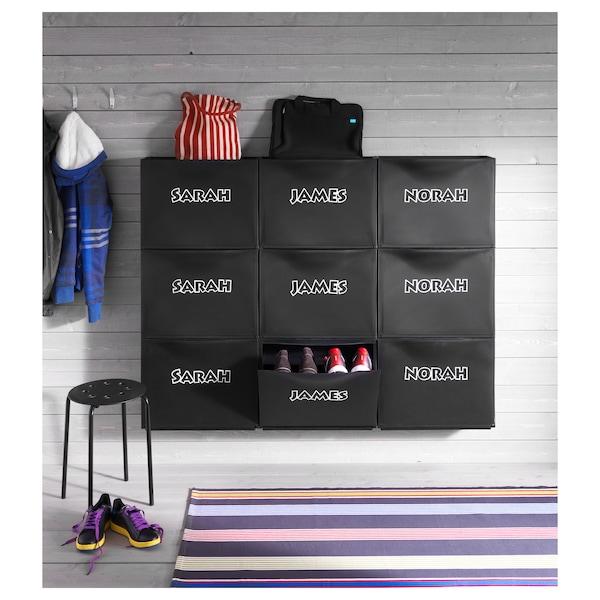 TRONES Armoire à chaussures/rangement, noir, 52x18x39 cm