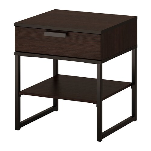 trysil table chevet brun fonc noir ikea. Black Bedroom Furniture Sets. Home Design Ideas