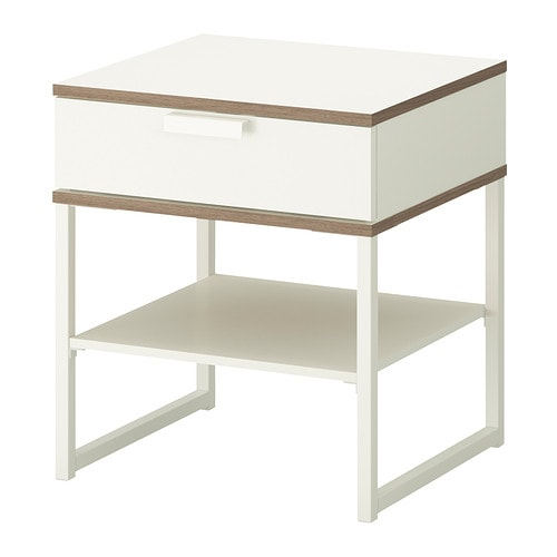 Trysil table chevet blanc gris clair ikea - Table de chevet couleur taupe ...