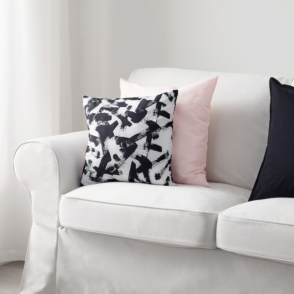 TURILL Coussin, blanc/noir, 40x40 cm