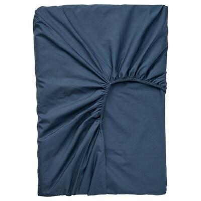 ULLVIDE Drap housse pour surmatelas, bleu foncé, 90x200 cm