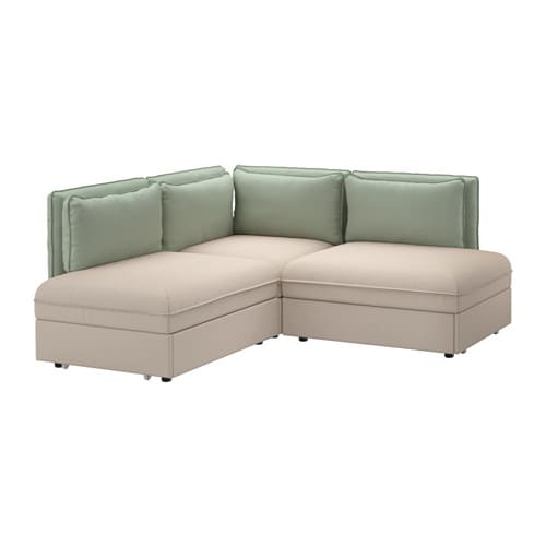 vallentuna canap angle 3 pl couchage orrsta beige hillared vert ikea. Black Bedroom Furniture Sets. Home Design Ideas