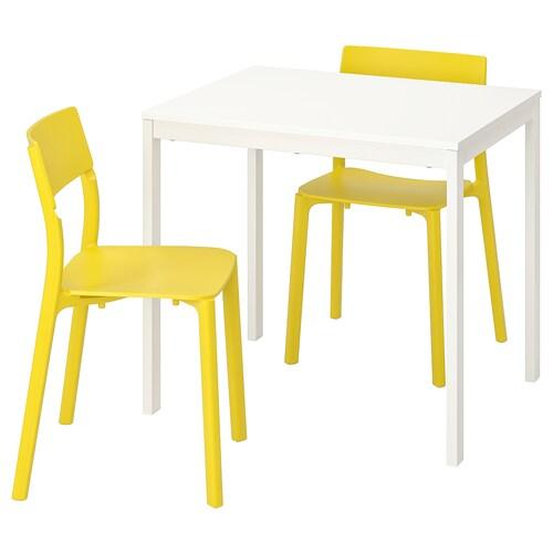 VANGSTA JANINGE Table et 2 chaises, blanc, jaune IKEA