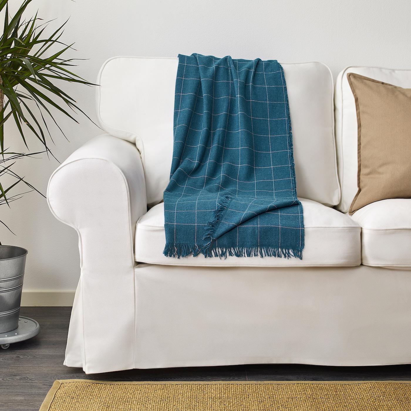 Plaid couverture couverture couverture de jour 110x170cm IKEA varkrage Plaid en bleu;