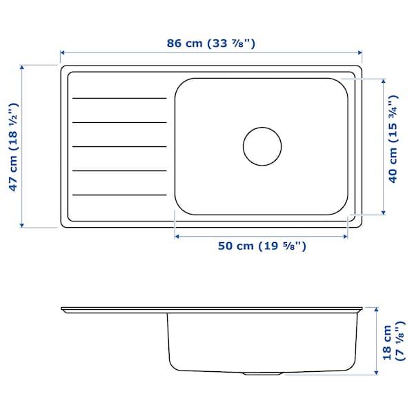 VATTUDALEN Évier intégré, 1 bac avec égouttoir, acier inoxydable, 86x47 cm