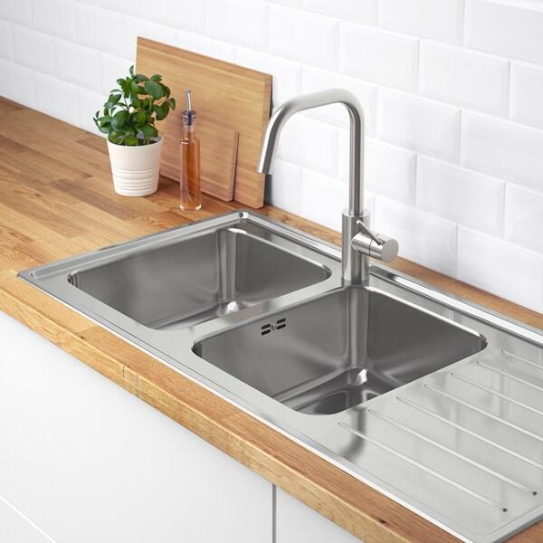 Vattudalen Evier Integre 2 Bacs Av Egouttoir Acier Inoxydable Ikea