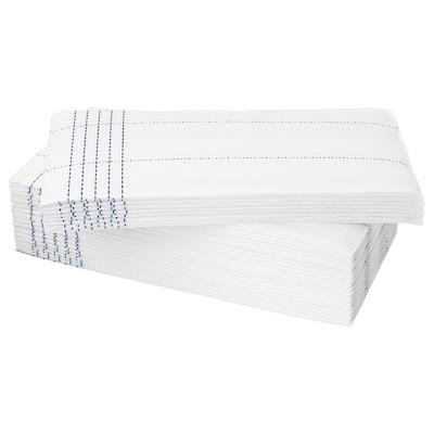 VERKLIGHET Serviettes en papier, blanc/bleu, 38x38 cm