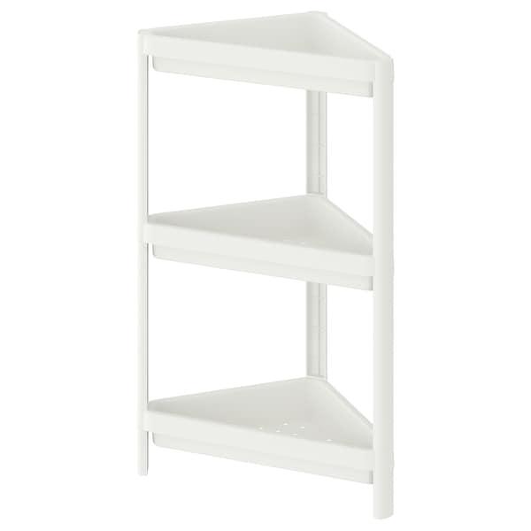 VESKEN Étagère d'angle, blanc, 33x33x71 cm