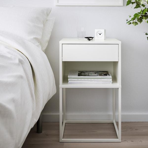 VIKHAMMER Table chevet, blanc, 40x39 cm