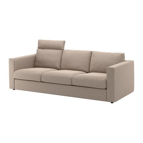 vimle canap 3 places avec appuie t te tallmyra beige ikea. Black Bedroom Furniture Sets. Home Design Ideas