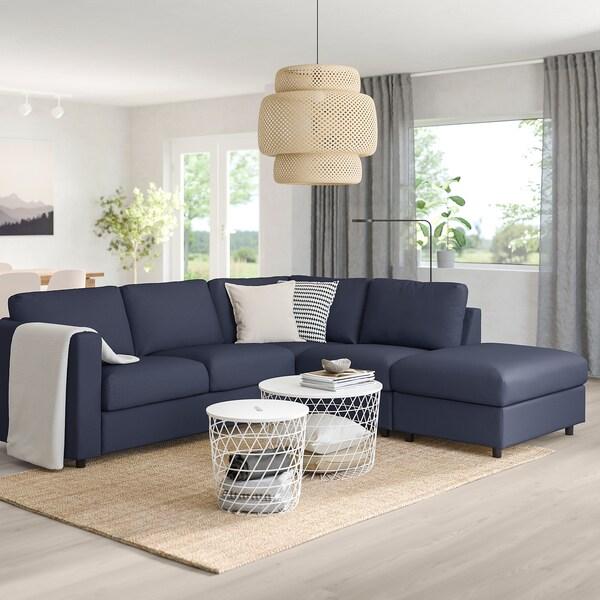 VIMLE Convertible d'angle, 4 places, sans accoudoir/Orrsta bleu noir
