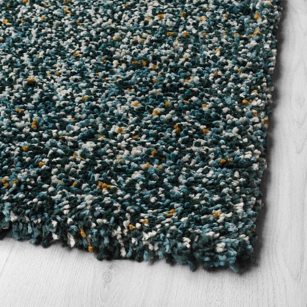 VINDUM Tapis, poils hauts, bleu vert, 133x180 cm