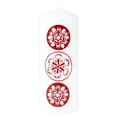 VINTER 2020 Bougie bloc non parfumée, motif flocons de neige blanc/rouge, 20 cm