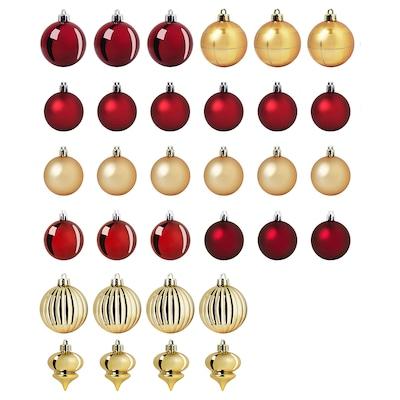 VINTER 2020 Boules décoratives, lot de 32, rouge/couleur or