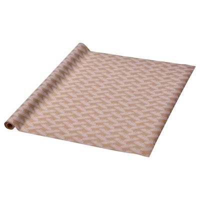 VINTER 2021 Papier cadeau, motif aiguilles de sapin blanc/brun, 3x0.7 m