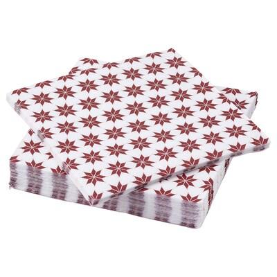 VINTER 2021 Serviettes en papier, motif étoilé blanc/rouge, 33x33 cm