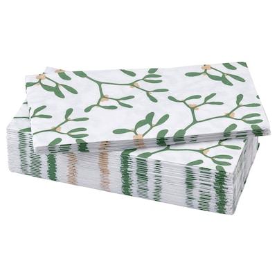 VINTER 2021 Serviettes en papier, motif gui blanc/vert, 38x38 cm