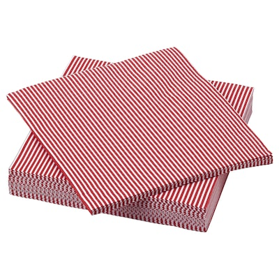 VINTER 2021 Serviettes en papier, motif rayé rouge/blanc, 33x33 cm