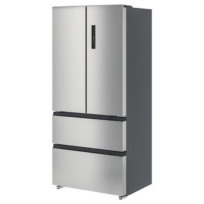 VINTERKALL Réfrig/congélateur porte double, IKEA 700 indépendant/acier inoxydable, 341/171 l