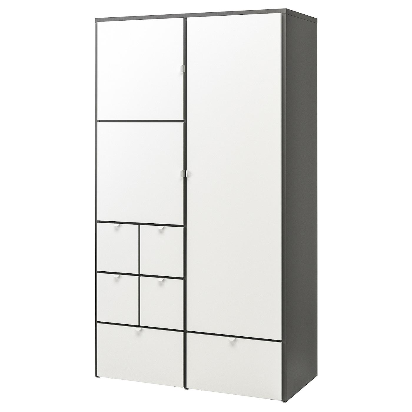 Visthus Armoire Penderie Gris Blanc 122x59x216 Cm Ikea