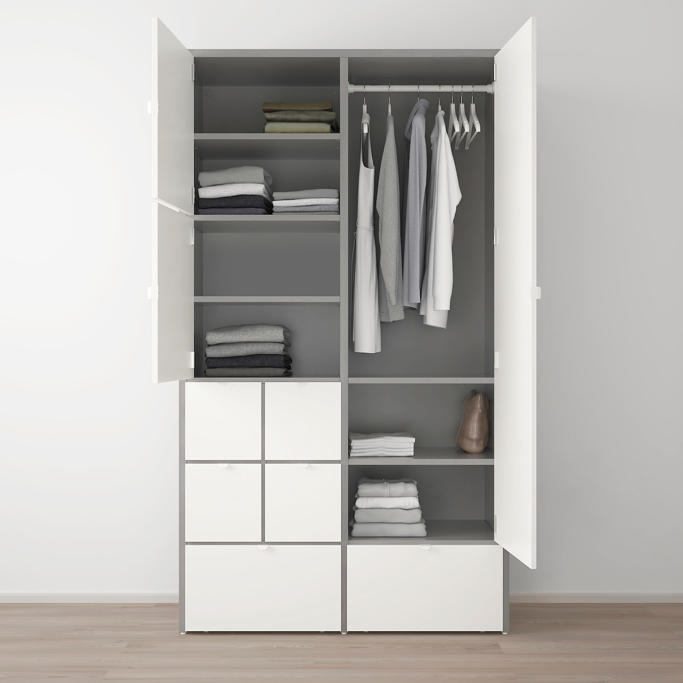 Ikea Placard Sur Mesure visthus armoire-penderie - gris, blanc 122x59x216 cm