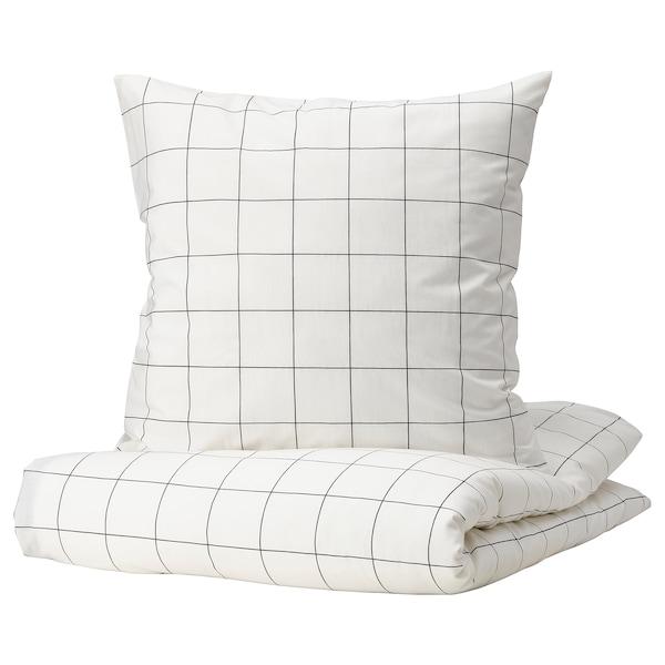 VITKLÖVER Housse de couette et 2 taies, blanc noir/carreaux, 240x220/65x65 cm