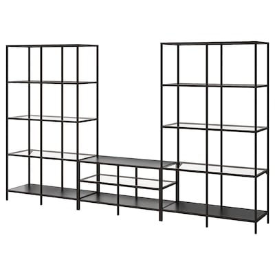 VITTSJÖ Combinaison meuble TV, brun noir/verre, 300x36x175 cm