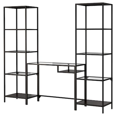 VITTSJÖ Étagère et table pr ordi portable, brun noir/verre, 202x36x175 cm