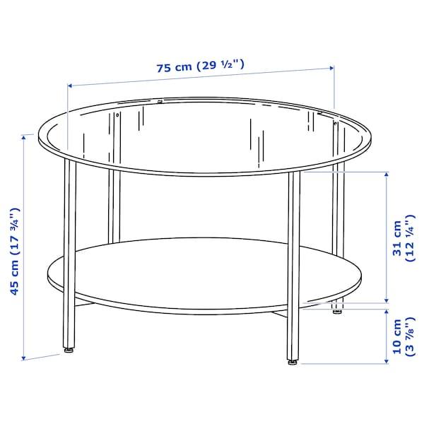 VITTSJÖ Table basse, blanc/verre, 75 cm