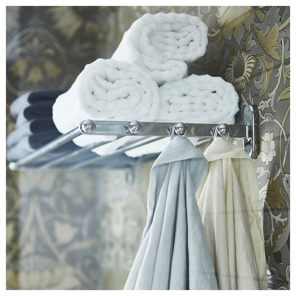 VOXNAN Étagère murale ou porte-serviettes, effet chrome, 68x28 cm