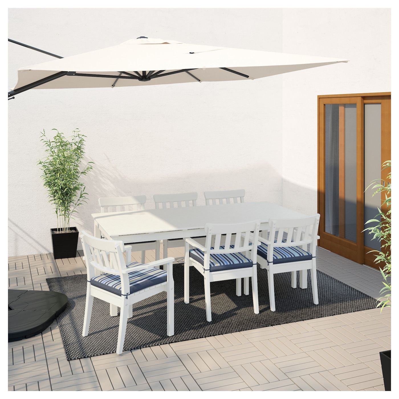 IKEA ÄNGSÖ table+6 chairs w armrests, outdoor The chair can be stacked, which helps you save space.