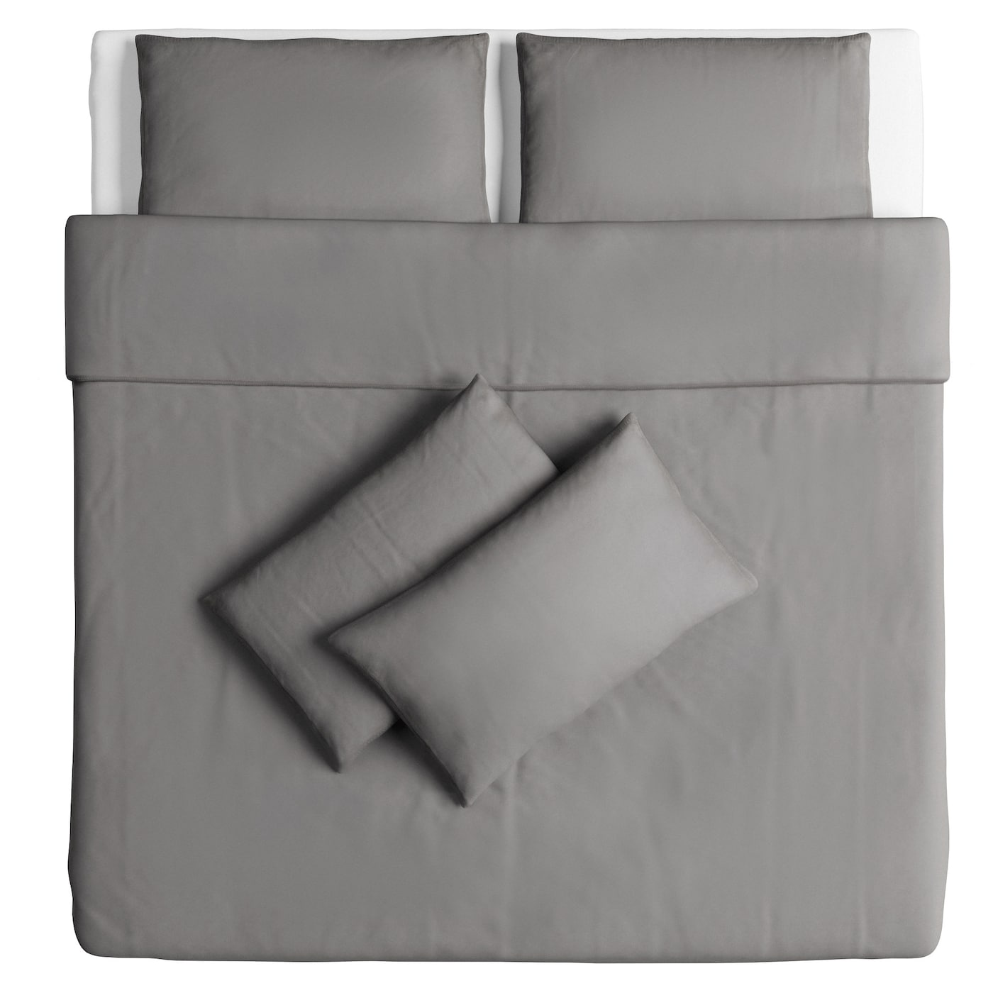 IKEA ÄNGSLILJA quilt cover and 4 pillowcases Cotton, feels soft and nice against your skin.