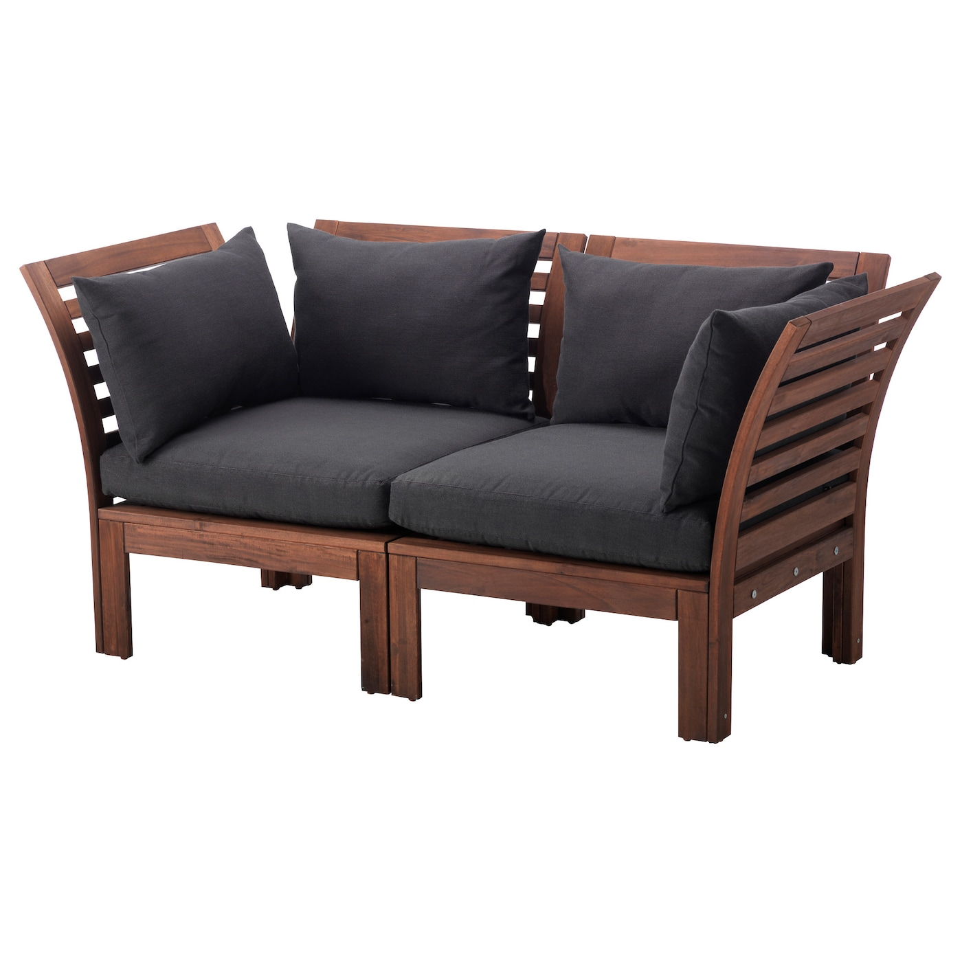 pplar 2 seat sofa outdoor brown stained h ll black 160x80x73 cm ikea. Black Bedroom Furniture Sets. Home Design Ideas