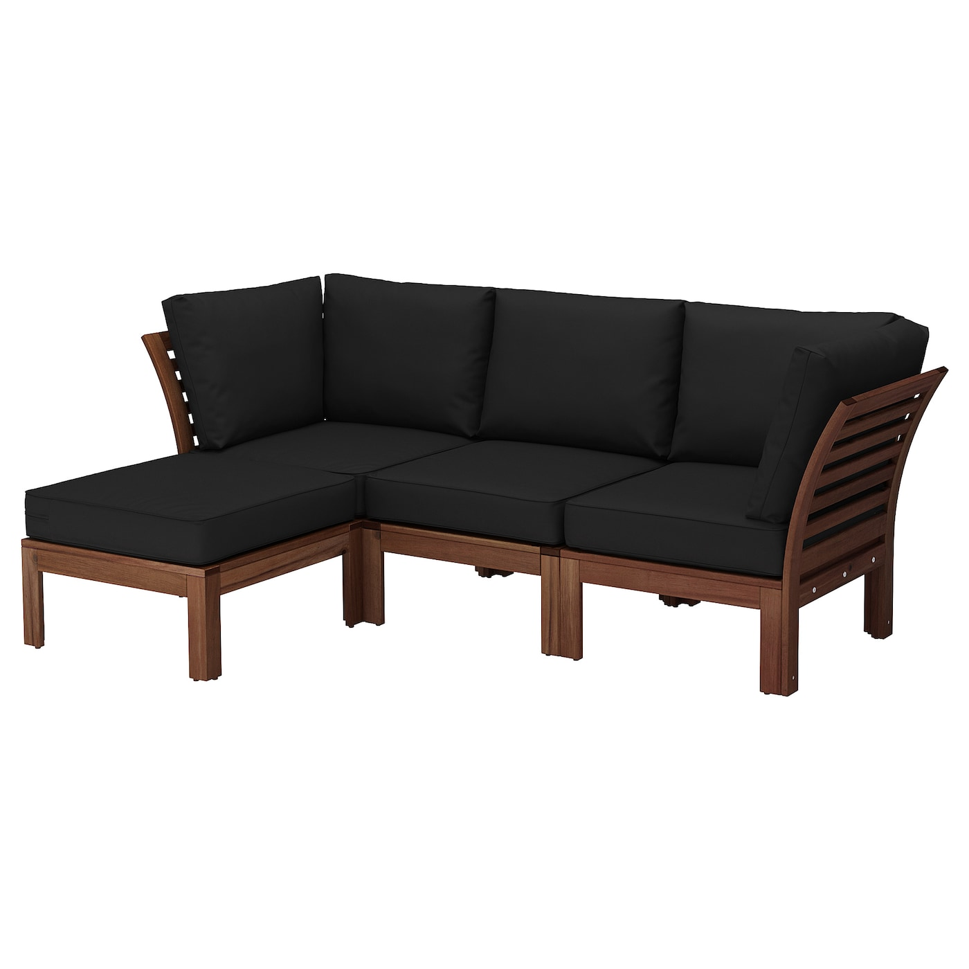 Pplar 3 seat sofa with footstool outdoor brown stained - Sofa exterior ikea ...