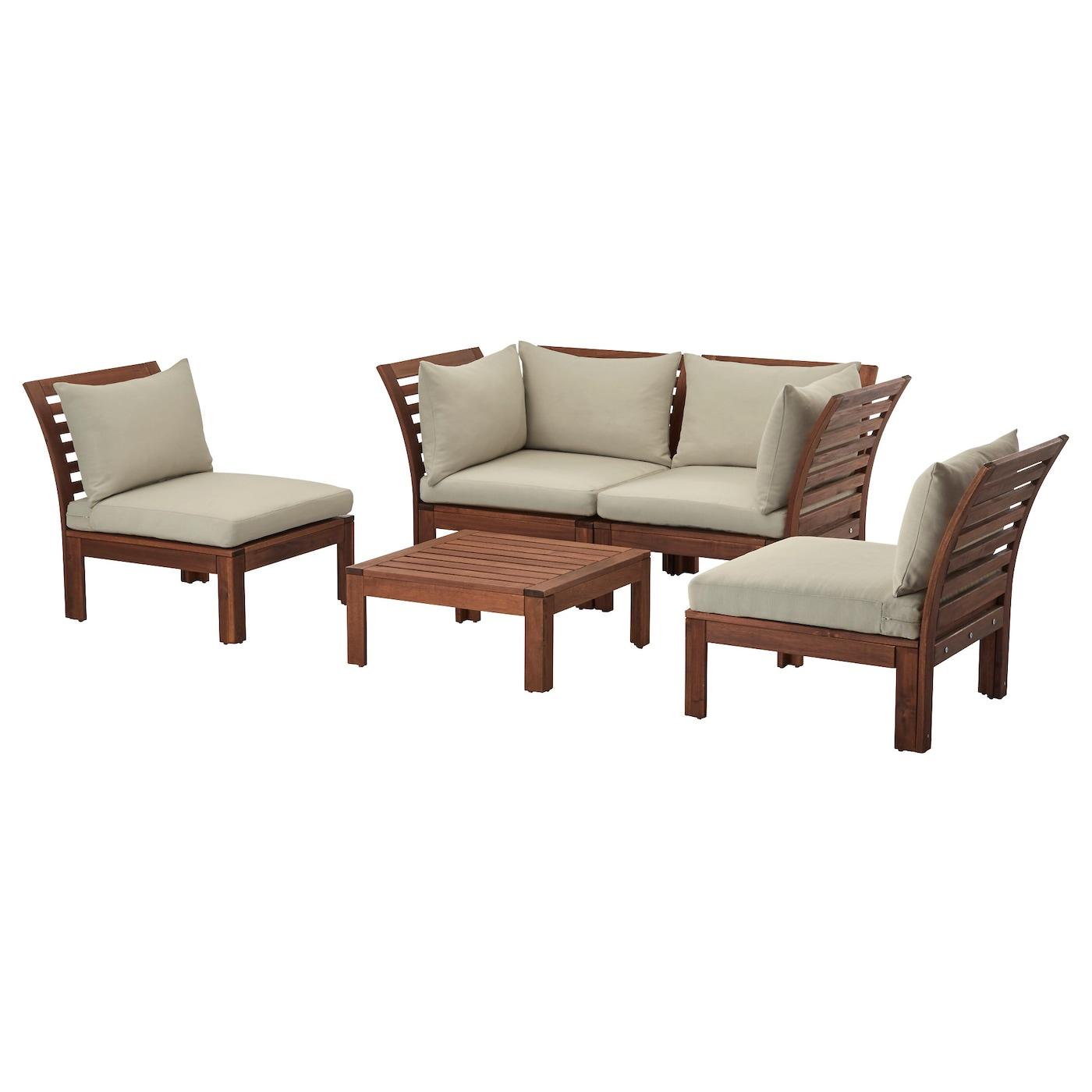 Lounge sofa outdoor holz  ÄPPLARÖ 4-seat conversation set, outdoor Brown stained/hållö beige ...