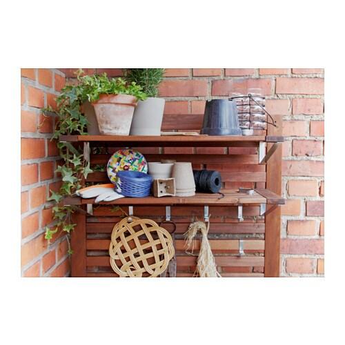 Pplar bench w panel shelves outdoor brown stained - Rangement exterieur ikea ...