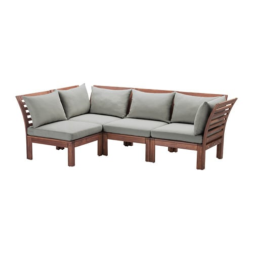 pplar corner sofa 3 1 outdoor brown stained h ll grey 143 223 x rh ikea com outdoor corner sofa small outdoor corner sofa cover