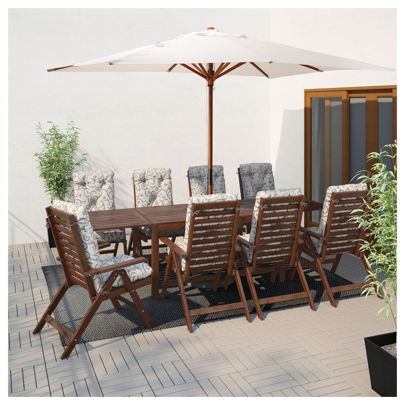 PPLAR Drop leaf table outdoor Brown stained 140200260x78 cm