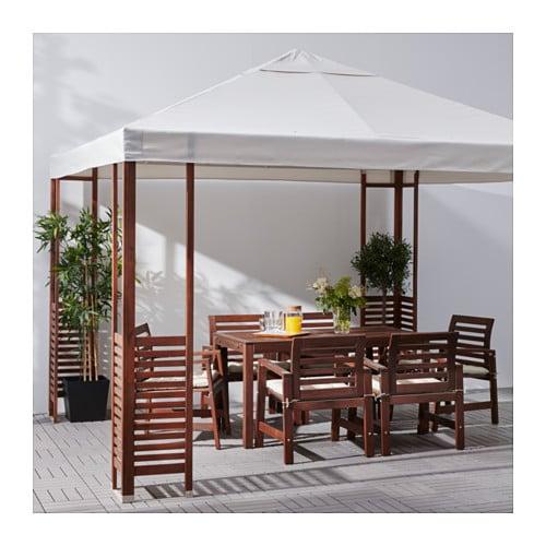 ÄPPLARÖ Gazebo Brown/beige 300x300 cm - IKEA
