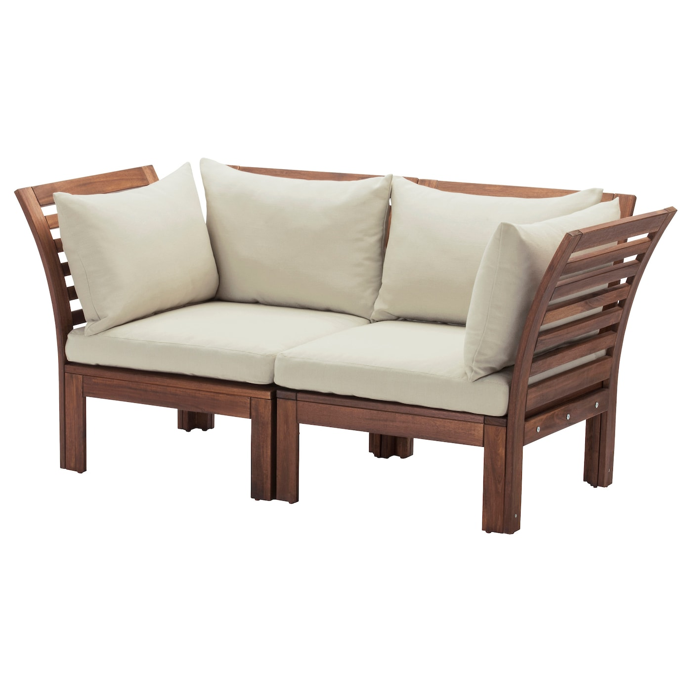 Pplar h ll 2 seat sofa outdoor brown stained beige for Sofa exterior 120 cm