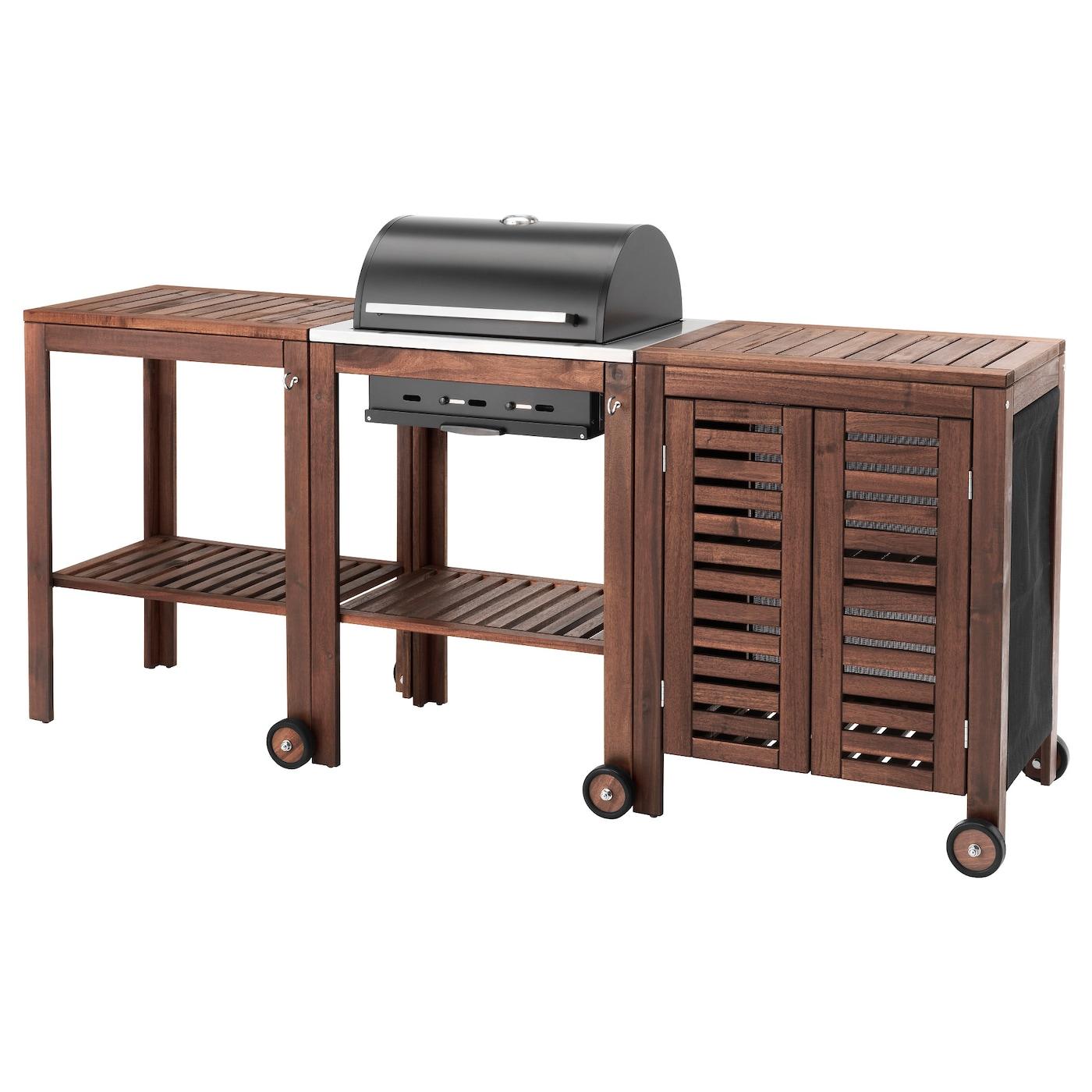 Pplar klasen charcoal barbecue w trolley cabinet brown stained ikea - Ikea tavolino esterno ...