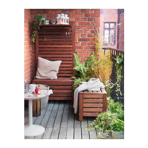 Pplar storage bench outdoor brown stained 80x41 cm ikea - Coffre rangement exterieur ikea ...
