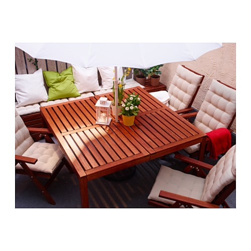 pplar table outdoor brown stained 140x140 cm ikea. Black Bedroom Furniture Sets. Home Design Ideas