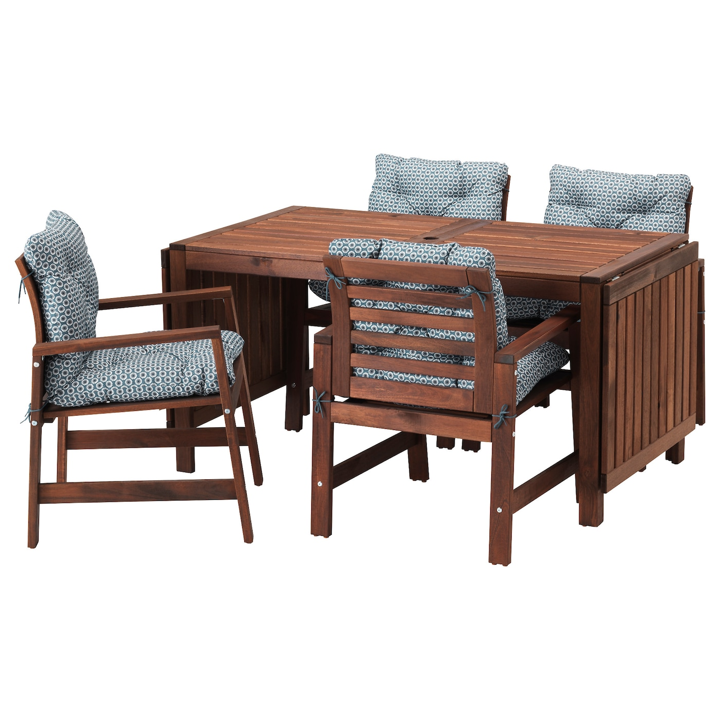 pplar table 4 chairs w armrests outdoor brown stained. Black Bedroom Furniture Sets. Home Design Ideas