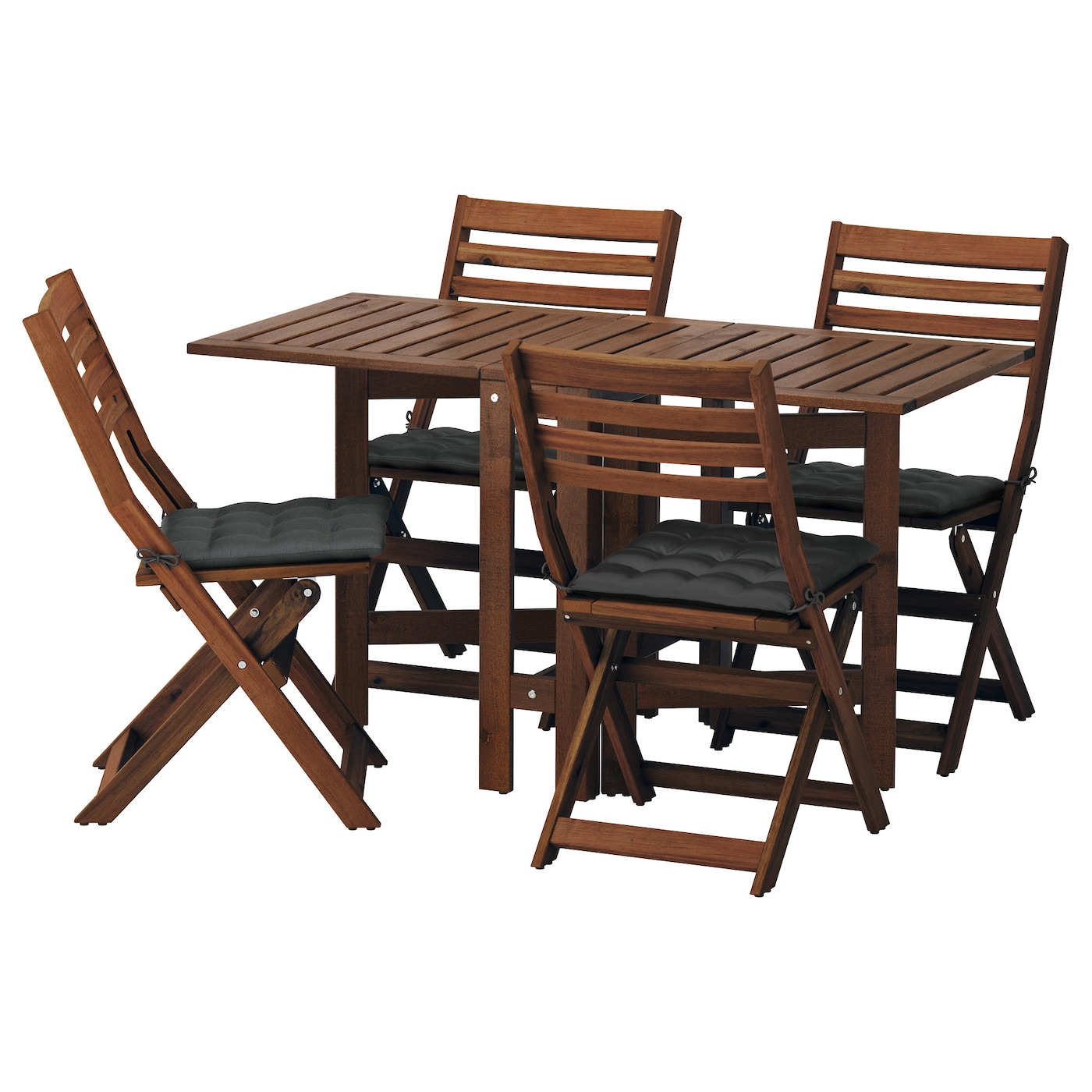 PPLAR Table4 folding chairs outdoor Brown stainedhll black