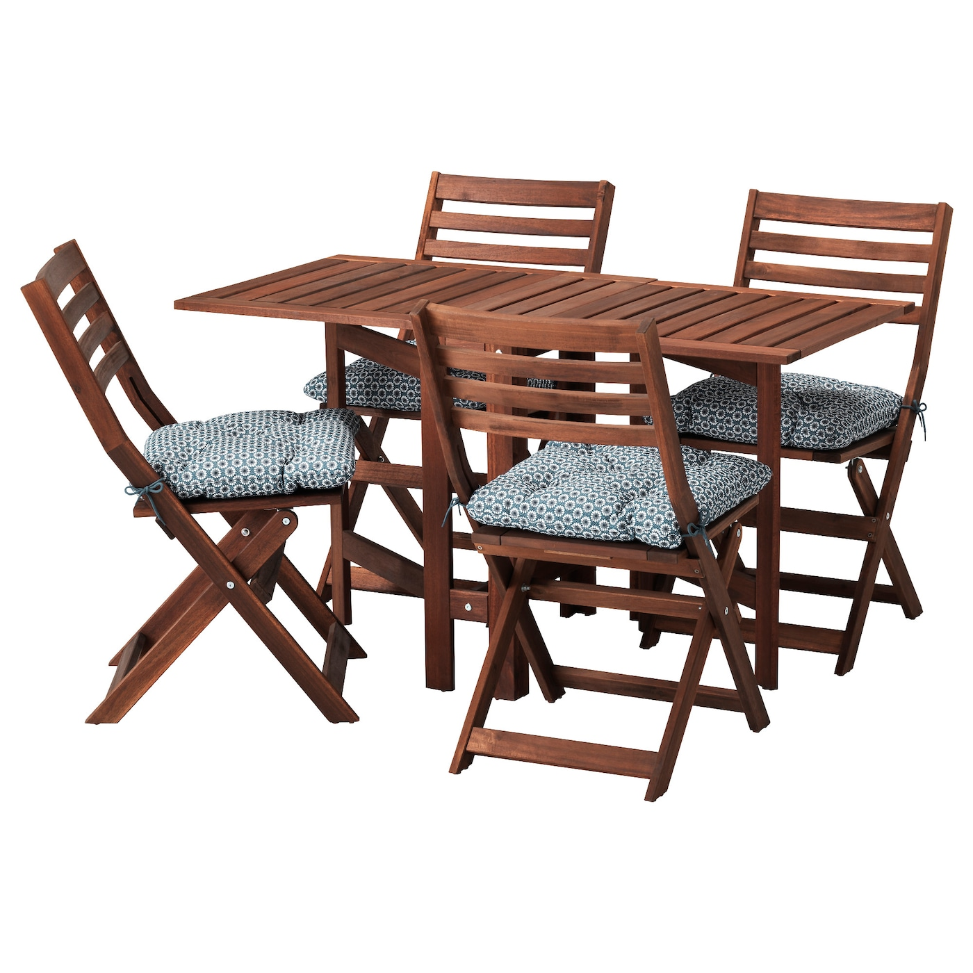 """PPLAR– Table 4 folding chairs outdoor Brown stained ytterön blue"
