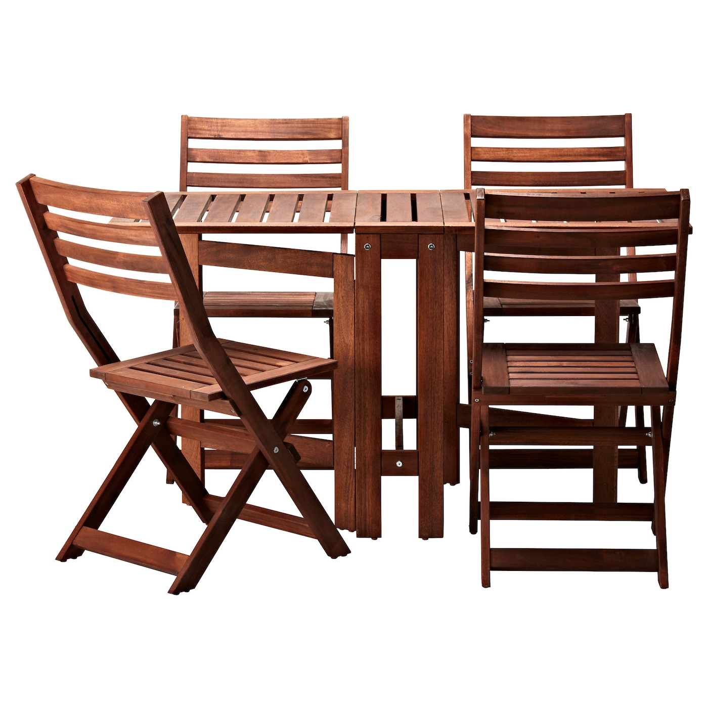Pplar table 4 folding chairs outdoor brown stained ikea for Table 4 personnes ikea