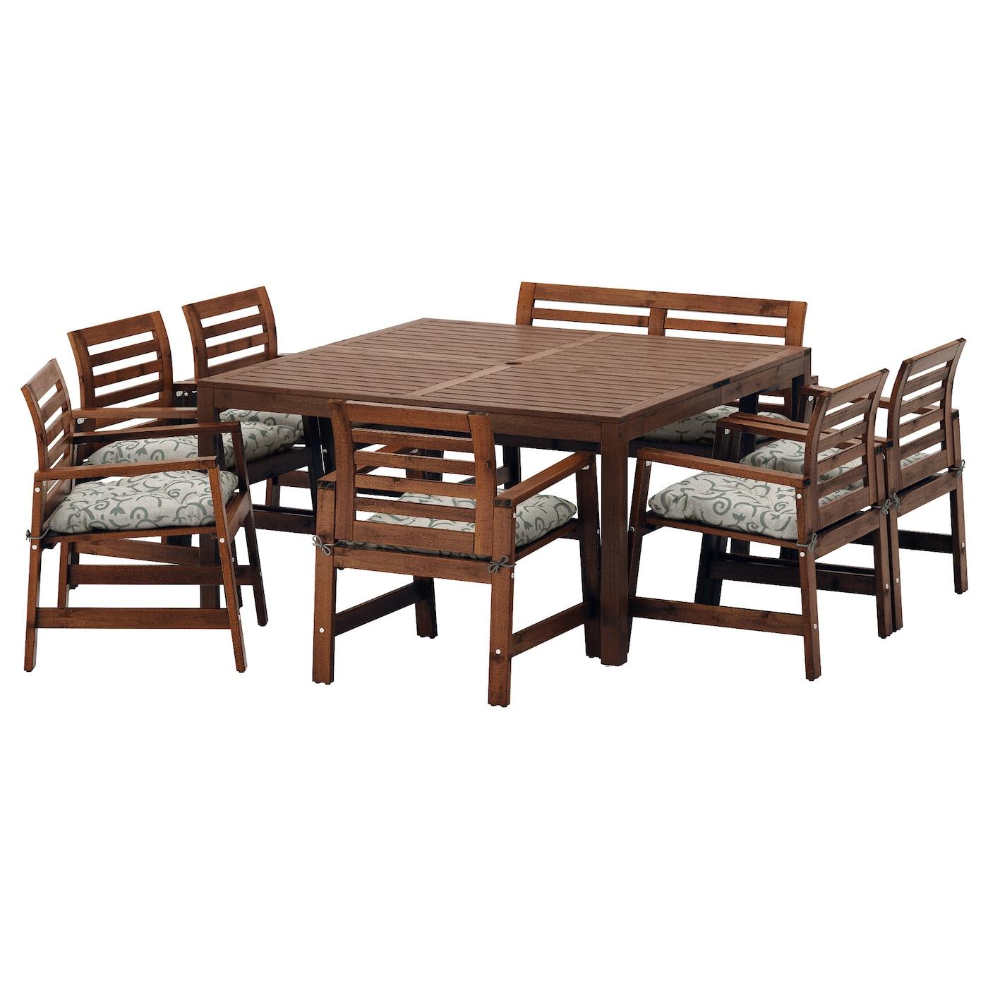 IKEA APPLARO Table 6 Chairs Armr Bench Outdoor