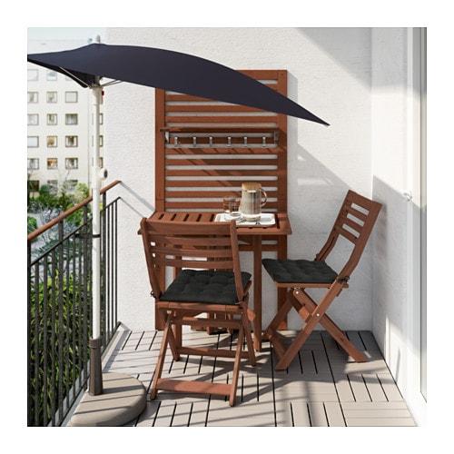 Pplar wall panel gatleg table 2 chairs outdoor brown - Table de balcon rabattable ...