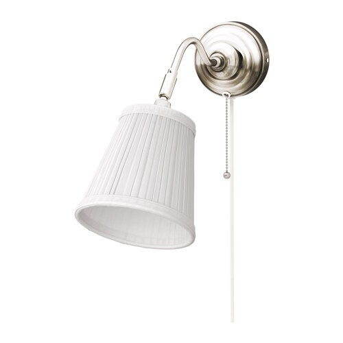 rstid wall lamp nickel plated white ikea